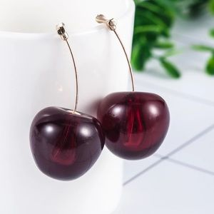 Cherry Earrings Drop Dangle Dark Red / NEW